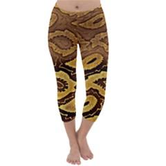Golden Patterned Paper Capri Winter Leggings