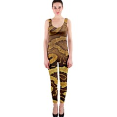 Golden Patterned Paper Onepiece Catsuit