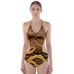 Golden Patterned Paper Cut Out One Piece Swimsuit