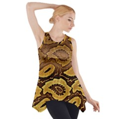 Golden Patterned Paper Side Drop Tank Tunic