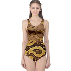 Golden Patterned Paper One Piece Swimsuit