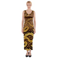 Golden Patterned Paper Fitted Maxi Dress