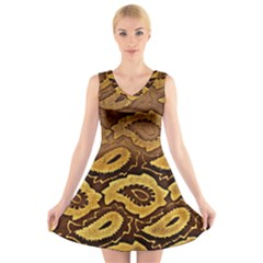 Golden Patterned Paper V Neck Sleeveless Skater Dress