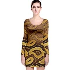Golden Patterned Paper Long Sleeve Velvet Bodycon Dress