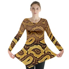 Golden Patterned Paper Long Sleeve Tunic