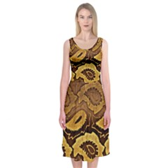 Golden Patterned Paper Midi Sleeveless Dress