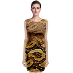 Golden Patterned Paper Classic Sleeveless Midi Dress