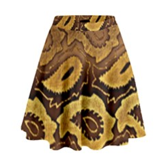 Golden Patterned Paper High Waist Skirt