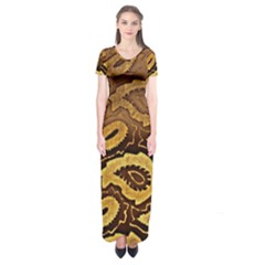 Golden Patterned Paper Short Sleeve Maxi Dress