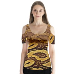 Golden Patterned Paper Butterfly Sleeve Cutout Tee