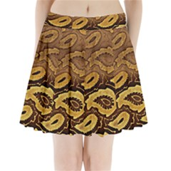Golden Patterned Paper Pleated Mini Skirt