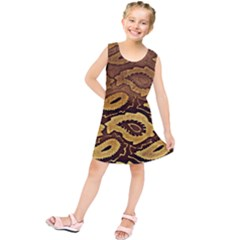 Golden Patterned Paper Kids  Tunic Dress
