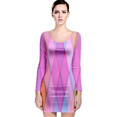 Graphics Colorful Color Wallpaper Long Sleeve Bodycon Dress