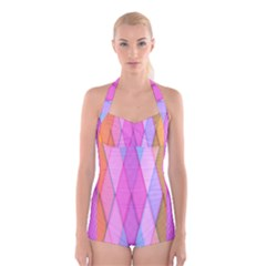 Graphics Colorful Color Wallpaper Boyleg Halter Swimsuit