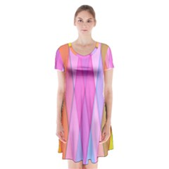 Graphics Colorful Color Wallpaper Short Sleeve V-neck Flare Dress