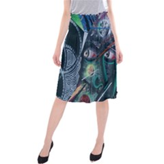 Graffiti Art Urban Design Paint Midi Beach Skirt