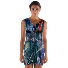 Graffiti Art Urban Design Paint Wrap Front Bodycon Dress