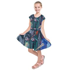 Graffiti Art Urban Design Paint Kids  Short Sleeve Dress