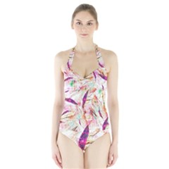 Grass Blades Halter Swimsuit