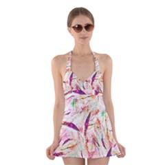 Grass Blades Halter Swimsuit Dress
