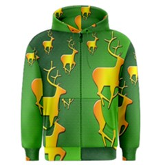 Gold Reindeer Men s Zipper Hoodie