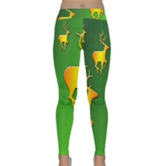 Gold Reindeer Classic Yoga Leggings