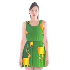 Gold Reindeer Scoop Neck Skater Dress