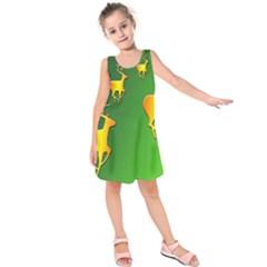 Gold Reindeer Kids  Sleeveless Dress