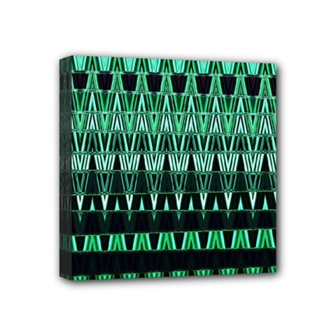 Green Triangle Patterns Mini Canvas 4  X 4