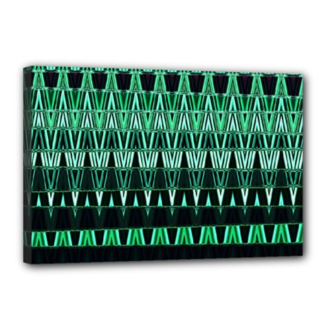 Green Triangle Patterns Canvas 18  x 12