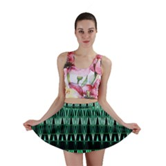 Green Triangle Patterns Mini Skirt