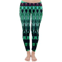 Green Triangle Patterns Classic Winter Leggings