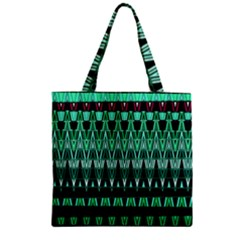 Green Triangle Patterns Zipper Grocery Tote Bag