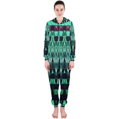 Green Triangle Patterns Hooded Jumpsuit (ladies)