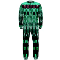 Green Triangle Patterns Onepiece Jumpsuit (men)