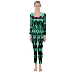 Green Triangle Patterns Long Sleeve Catsuit