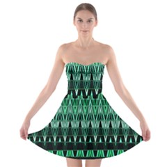 Green Triangle Patterns Strapless Bra Top Dress