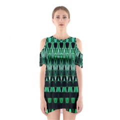 Green Triangle Patterns Shoulder Cutout One Piece
