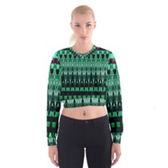 Green Triangle Patterns Women s Cropped Sweatshirt