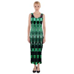 Green Triangle Patterns Fitted Maxi Dress