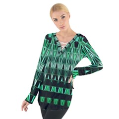 Green Triangle Patterns Women s Tie Up Tee