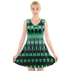Green Triangle Patterns V Neck Sleeveless Skater Dress