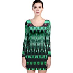 Green Triangle Patterns Long Sleeve Velvet Bodycon Dress