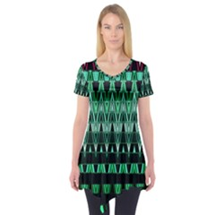 Green Triangle Patterns Short Sleeve Tunic