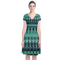 Green Triangle Patterns Short Sleeve Front Wrap Dress