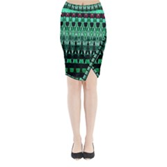 Green Triangle Patterns Midi Wrap Pencil Skirt