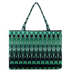 Green Triangle Patterns Medium Zipper Tote Bag