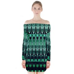 Green Triangle Patterns Long Sleeve Off Shoulder Dress