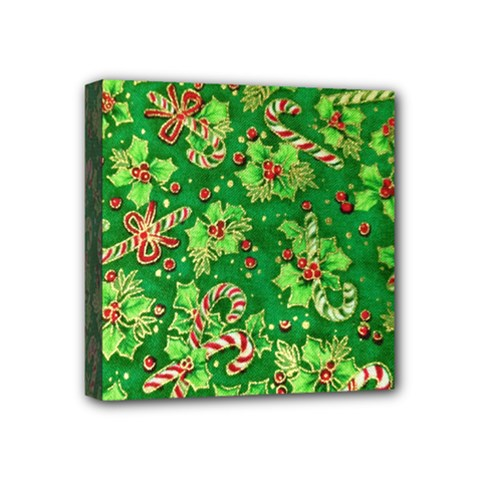 Green Holly Mini Canvas 4  x 4