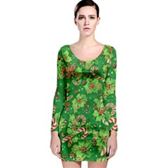 Green Holly Long Sleeve Bodycon Dress
